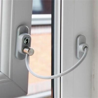 Троссовый ограничитель для ПВХ окон с ключом, белый - фото 7170