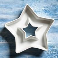 Керамическая тарелочка-кашпо в форме звезды